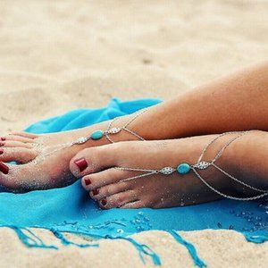 Jewelry - Silver Blue Layered PAIR Barefoot Sandal Anklets